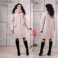 Зимнее пальто с отстегивающимся мехом на воротнике  F  77978  Бежевый