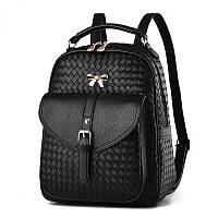 Рюкзак женский кожаный  с бантиком (черный)