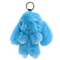 Брелок меховой кролик голубой