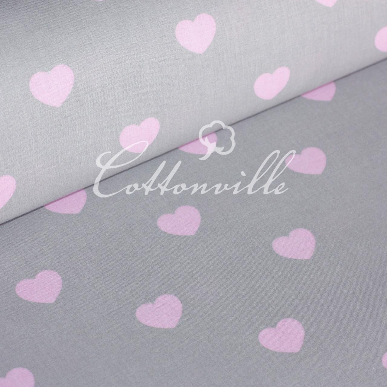 ✁ Отрезы бязи Сердечки розовые на сером (30 мм)