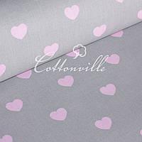 ✁ Отрезы бязи Сердечки розовые на сером (30 мм), фото 1