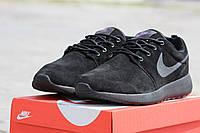 Мужские кроссовки Nike  /  кроссовки  мужские  Найк весна-осень, натуральнный замш, черные