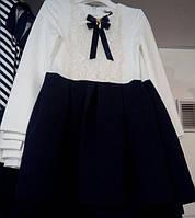 Нарядное платье для девочки, молочно-синее, 122, 140, MEVIS (Мевис), Украина