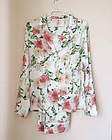 Весенняя женская пижама из легкого искусственного шелка