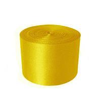 Атласная лента 5 см - цвет желтый