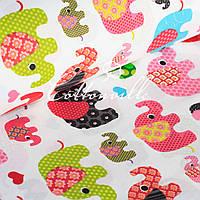 ✁ Отрезы хлопковой ткани Слоники разноцветные, фото 1