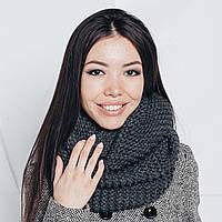 Графитовый / темно - серый шарф-снуд, фото 1