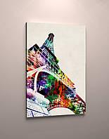 Картина яркая эйфелева башня холст