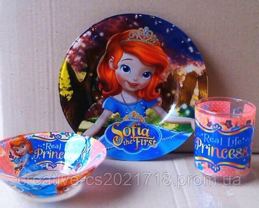 Набор детской посуды  Sofia Принцесса София (3 предмета)