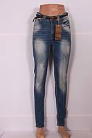 Модные женские турецкие джинсы с потертостями (Код 8024)