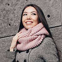 Нежно-розовый шарф-снуд, фото 1