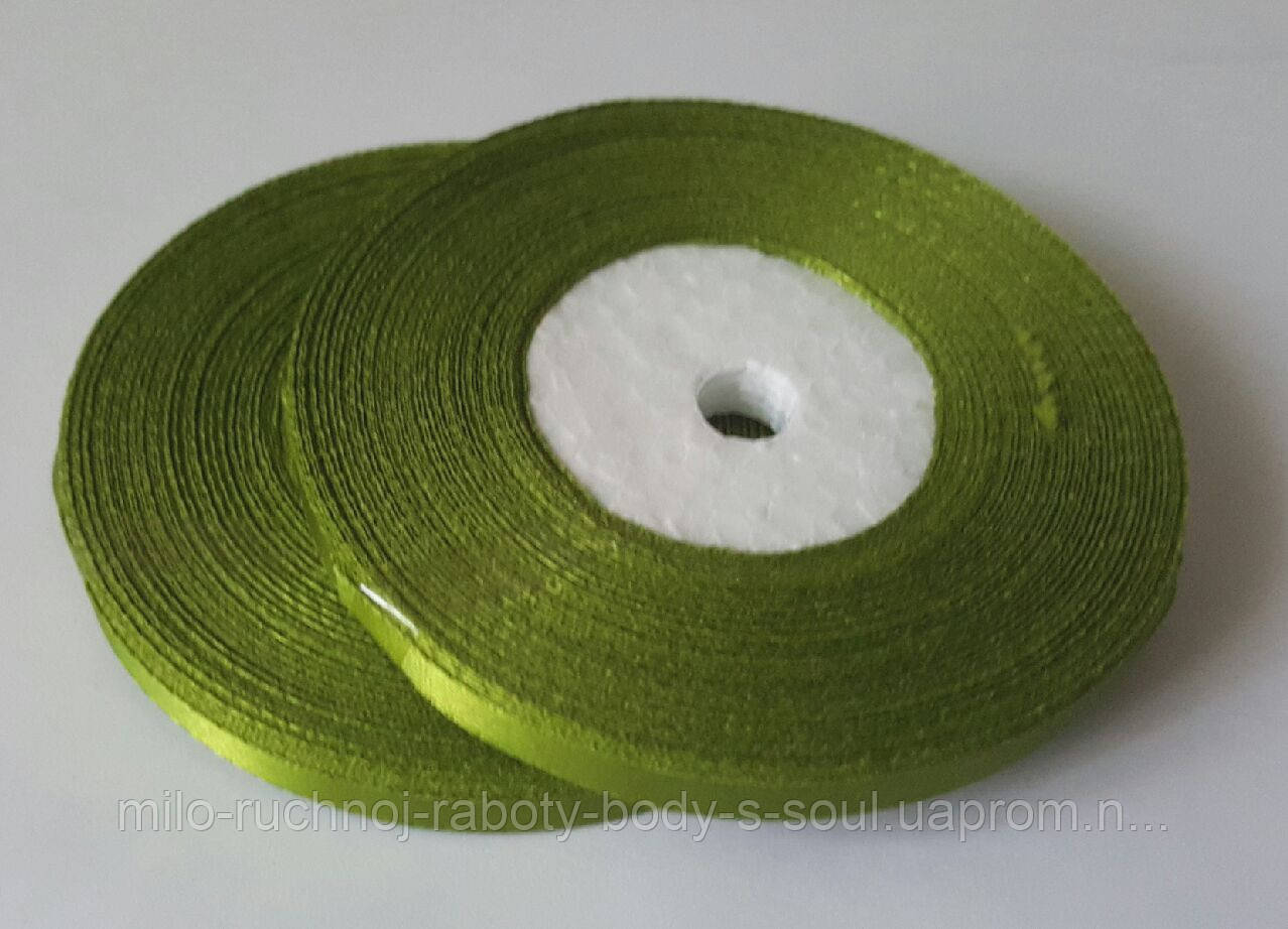 Лента атласная оливковый 6 мм, 36 ярдов (32,9 м)