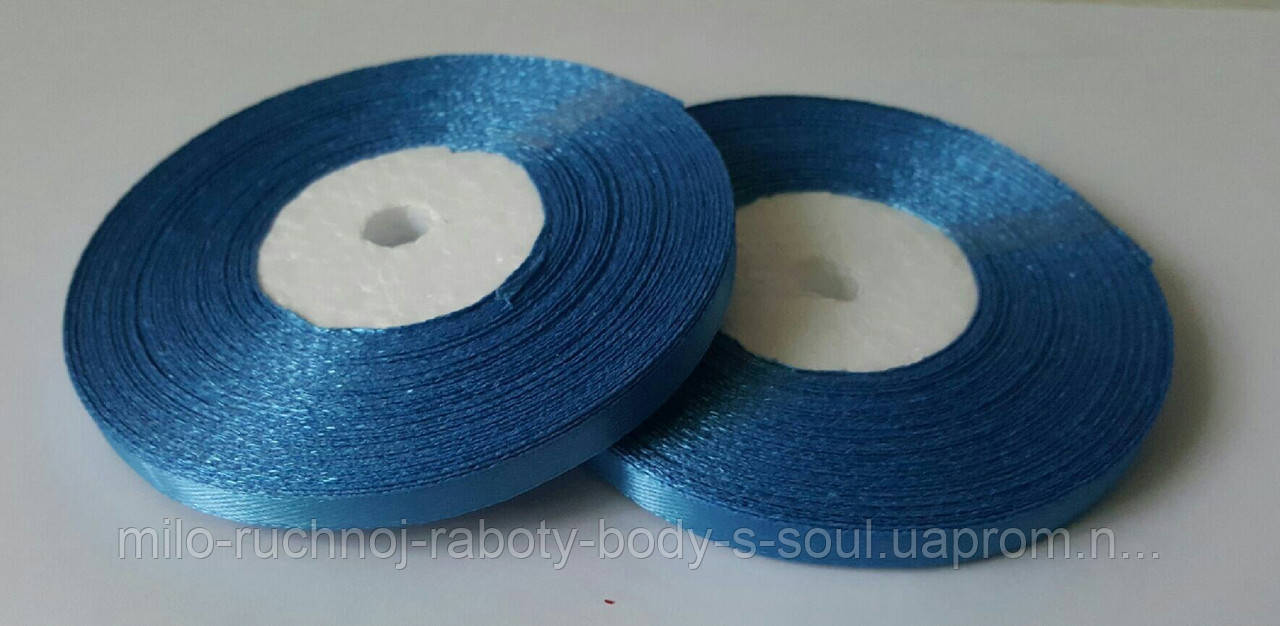 Лента атласная ярко-голубая 6 мм, 36 ярдов (32,9 м)