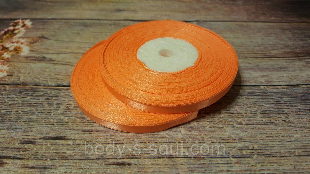 Лента атласная нежно-оранжевая 6 мм, 36 ярдов (32,9 м)