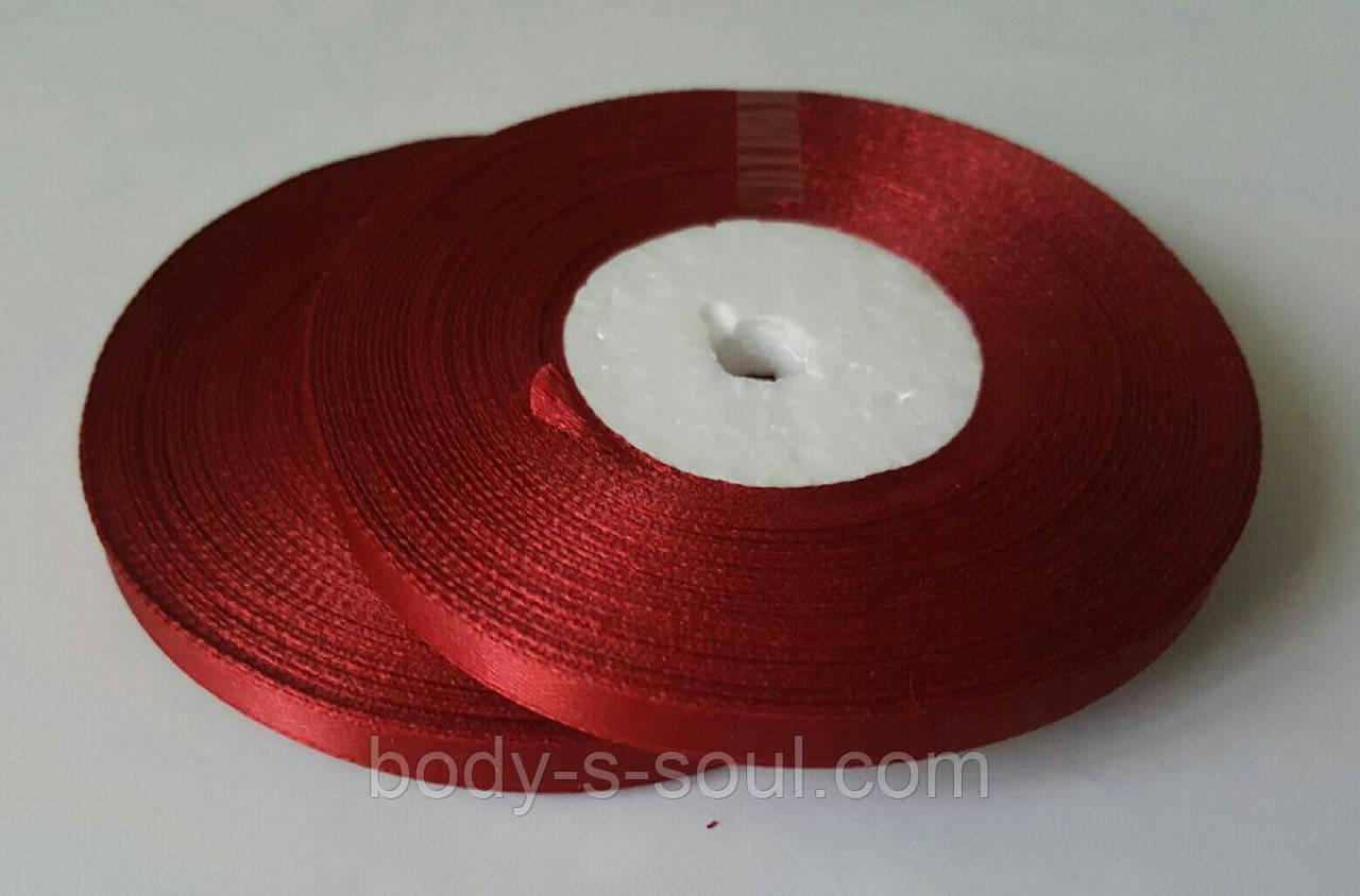 Лента атласная ярко-красная 6 мм, 36 ярдов (32,9 м)