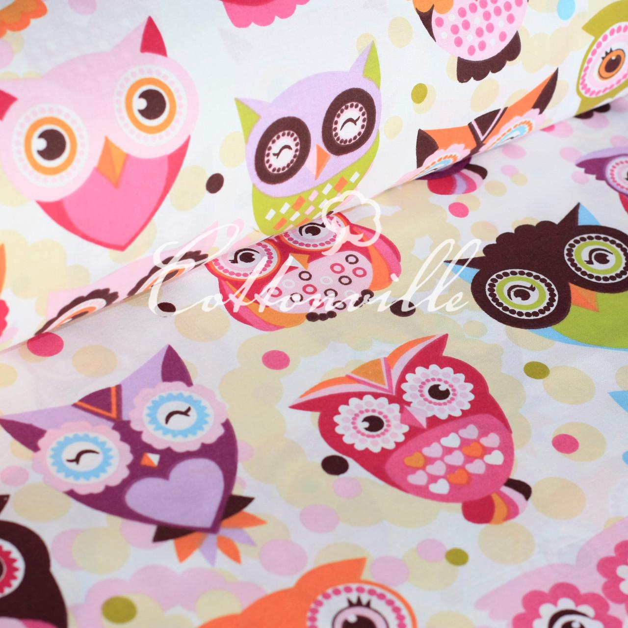 Хлопковая ткань Сказочные совы розовые