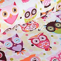 ✁ Отрезы хлопковой ткани Сказочные совы розовые, фото 1