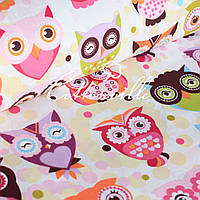 Хлопковая ткань Сказочные совы розовые, фото 1