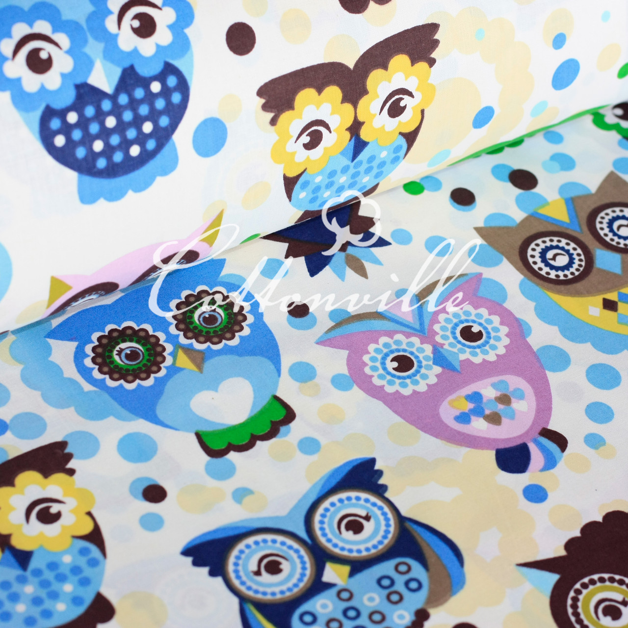 ✁ Отрезы хлопковой ткани Сказочные совы голубые