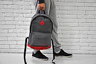 Спортивный городской рюкзак Nike с кожаным дном (серый), Реплика
