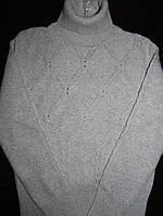 Гольф хлопковый серый плотный, декор камни, ModaLora (Модалора), 120, 130, 140, 150, 160