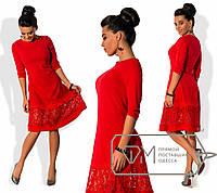Нежное, романтичное платье (пышная юбка с французским гипюром, длина ниже колен, рукава 3/4) РАЗНЫЕ ЦВЕТА!
