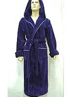 Халат махровый мужской длинный с капюшоном