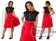 Элегантный женский костюм для пышных модниц (шелк Армани, атлас, юбка, блуза, широкий пояс) РАЗНЫЕ ЦВЕТА!