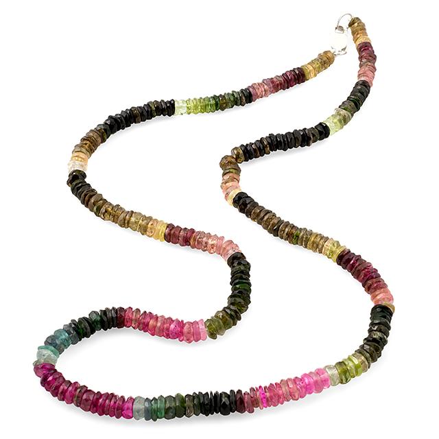 Турмалин разноцветный, бусы шнурок, 172БСТ