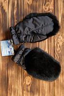 Варежки с мехом кролика  КК55  Черный