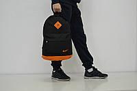 Спортивный городской рюкзак Nike с кожаным дном (черно-оранжевый)