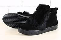 Замшевые ботиночки на меху с ушками