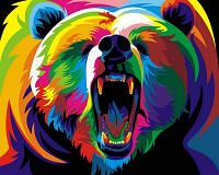"""Картина на холсте по номерам""""Веселый медведь """"   VP600 50*40см"""