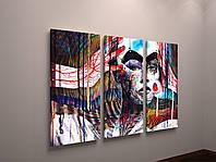 Модульная картина на холсте Абстракция Яркая Девушка 90х60 из 3-х частей