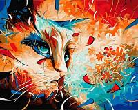 "Картина на холсте по номерам""Кот в абстракции"" VP604 50*40см"