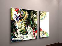 Картина-диптих Дівчина з квітам. Модульна картина на холсті з 2 частин. Друк фотокартин під замовлення.