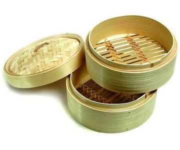 Пароварка бамбуковая круглая 25см, 2 сита
