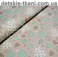 Ткань бязь с сердечками мятно-серого цвета № 507а