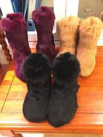 """Модные, женские, зимние угги """"Полностью из меха кролика"""" РАЗНЫЕ ЦВЕТА высокие и короткие"""