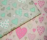 Тканина бязь з сердечками м'ятного кольору на сірому, № 507а, фото 6