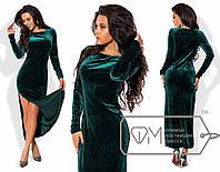 Элегантное бархатное вечернее платье (длина макси, длинные рукава, бархат, высокий разрез) РАЗНЫЕ ЦВЕТА!