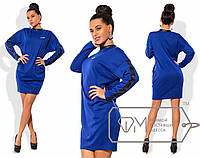 Модное трикотажное платье (итальянский трикотаж, экокожа, длинные рукава, свободный стиль) РАЗНЫЕ ЦВЕТА!