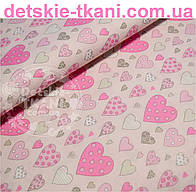 Ткань бязь с сердечками розового цвета разного размера № 508а