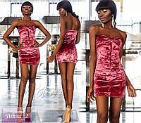 """Роскошное бархатное вечернее платье """"Ролли-2"""" (бархат, длина мини, открытые плечи и спина) РАЗНЫЕ ЦВЕТА!"""