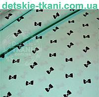 Ткань бязь с бантиками на мятном цвете № 511а