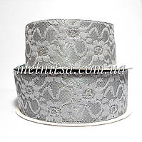 Лента атласная с гипюром, 4 см, цвет серый стальной