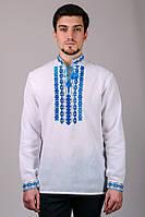 """Мужская рубашка-вышиванка  """"Узор"""" (Синий)"""