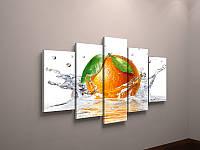 Модульная картина в интерьер кухни Апельсин в воде Цитрусы 125х70 из 5-и частей