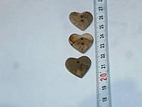 Пуговица сердце среднее декоративная керамическая ручной работы