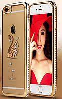 """Золотистый силиконовый чехол Лебедь с камнями Сваровски для iPhone 7 и iPhone 8 (4.7"""")"""